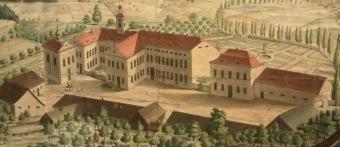 Zámecký areál Žampach - kolem roku 1840.